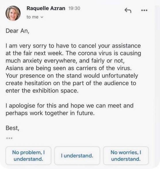Art dealer Raquelle Azran wrote this email to curator An Ngyuen.