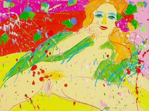 丁雄泉,《吻我,吻我10029》,1973年, 亞克力及粉蠟筆於西洋紙畫,57 x 76 cm。圖片來自藝術家及藝倡畫廊。