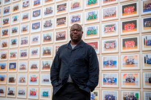 British artist and filmmaker Steve McQueen at Tate Britain for the opening of his photographic project to take pictures of all third year school children in London on November 11, 2019. (Photo by Tolga Akmen/AFP via Getty Images.