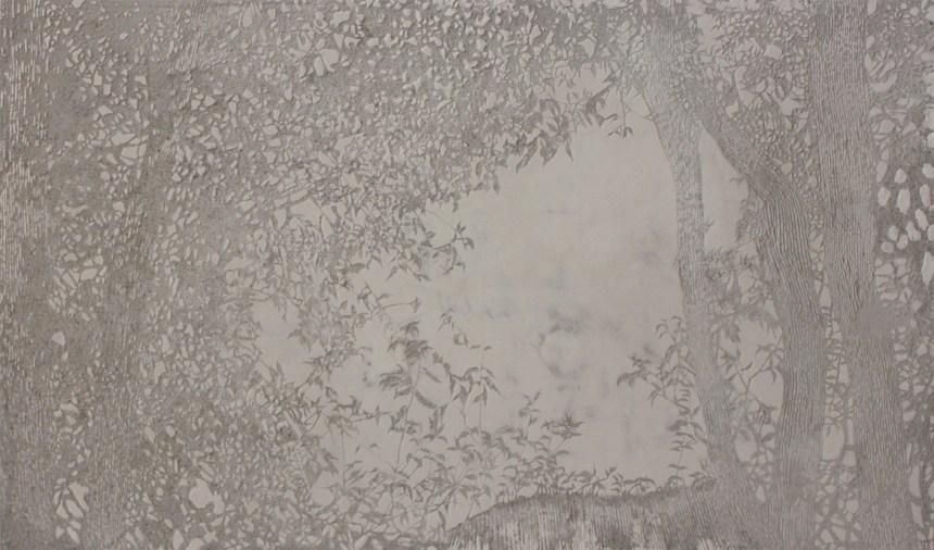 邱承宏_採光01_2020_混凝土、黑大理石、檜木_103x63x3 cm, Courtesy of 本事藝術 Solid Art