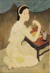 梅忠恕《作詩的仕女》,水墨水粉絹本,一九四三年作,73 x 50.3 公分,估價:3,200,000 - 4,000,000 港元, Courtesy of Sotheby's Hong Kong