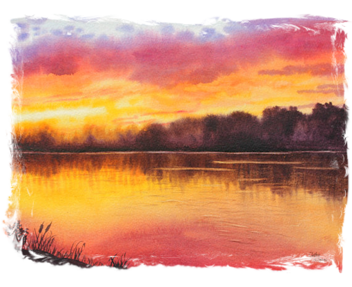 watercolor landscape scene of sunset, pond, and cattails, painted by beginner artist in introductory watercolor painting workshop after learning art with supportive and enthusiastic instructors
