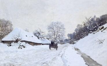 Клод Моне. «Телега на заснеженной дороге и ферма Сен-Симон». 1865