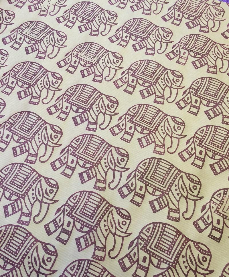 Indian Wooden Printing Block Large Walking Elephant