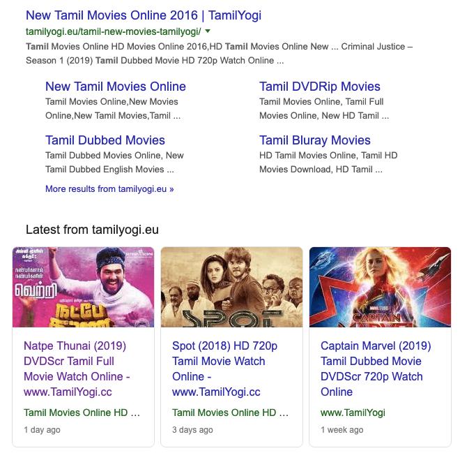 Tamil Yogi - featured in google