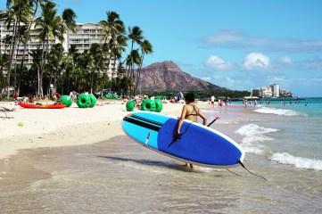 Paddleboarding at Waikiki Beach