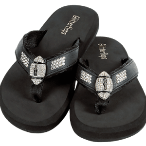 glitterflops-football-black-flip-flops