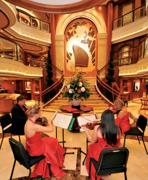 Cunard Queen Elizabeth. Naming Ceremony. Grand Lobby with Musicians.