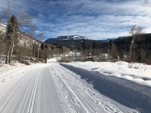 Cross-country skiing up Marvine