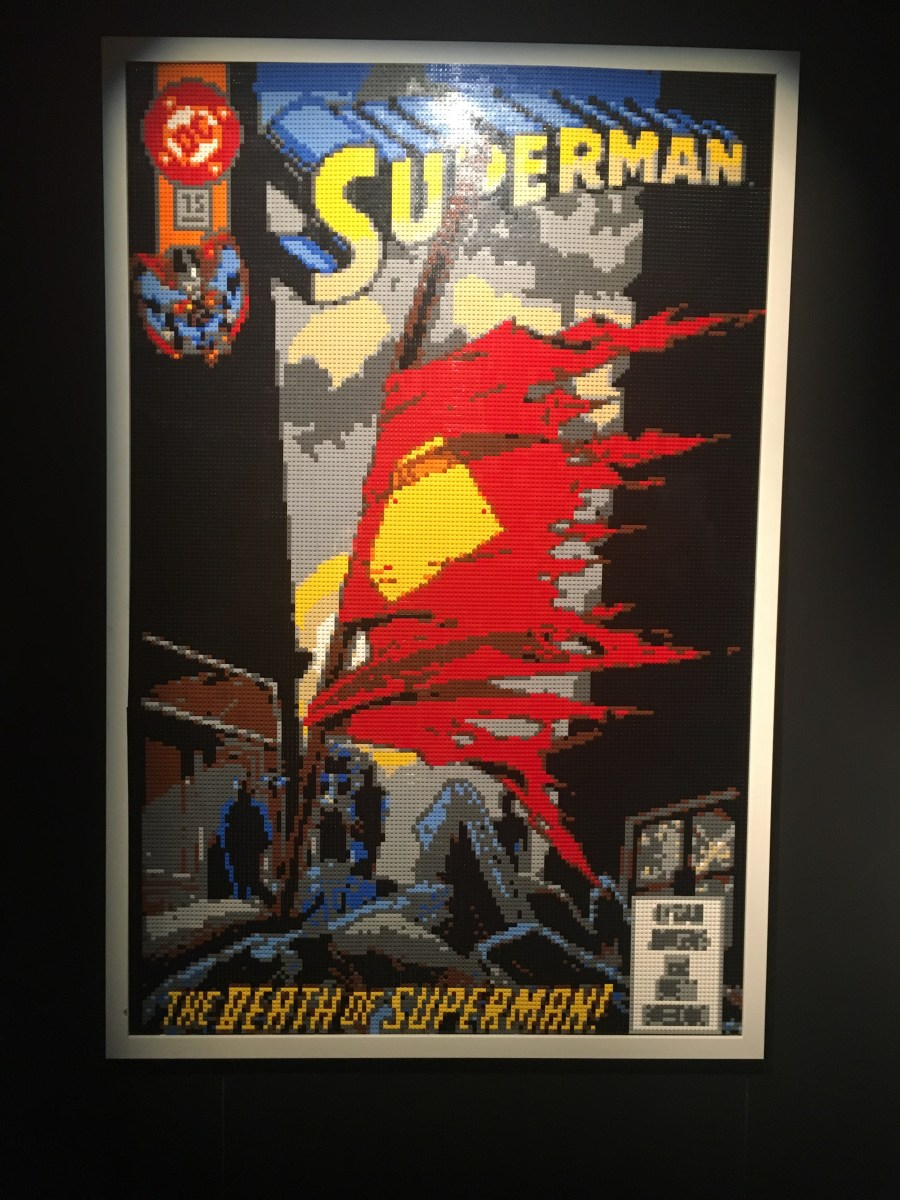 The Death of Superman Comic Cover Lego Sculpture