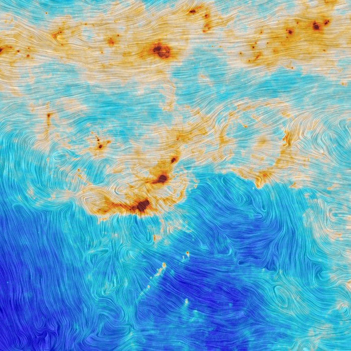 Magnetic microwave map of the Polaris Flare. ESA and the Planck Collaboration