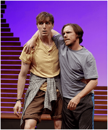 "Alex Breaux and Shane Patrick Kearns in a scene from Roger Hedden's ""The Sky and The Limit"" (Photo credit: Carol Rosegg)"