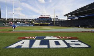 Kauffman Stadium ALDS logo before Game 5.