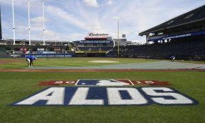 Kauffman Stadium ALDS logo before Game 5.