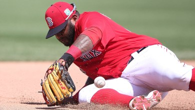 Boston Red Sox third baseman Pablo Sandoval attempting to field a ground ball in Spring Training