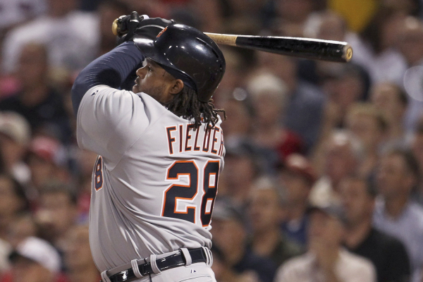 Detroit Tigers slugger Prince Fielder watches a two run home run in a September 2013 game against the Boston Red Sox