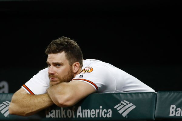 Baltimore Orioles first baseman Chris Davis looks on from the dugout at Camden Yards after an inglorious season