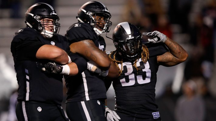 The Birmingham Iron celebrate a touchdown