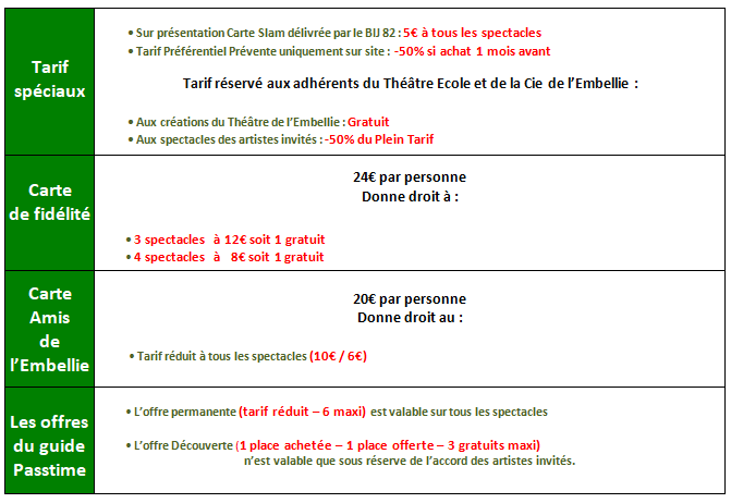 Carte Accord Tarif.Les Tarifs Theatre De L Embellie
