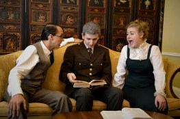 Benjamin Fitton as Henry Higgins, James Altman as Colonel Pickering, and Camille Gray as Eliza Doolittle