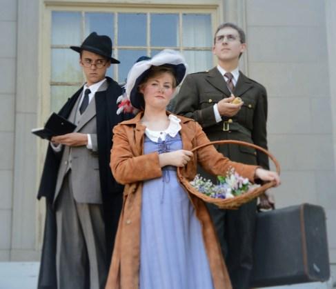 Benjamin Fitton as Henry Higgins, Camille Gray as Eliza Doolittle, James Altman as Colonel Pickering