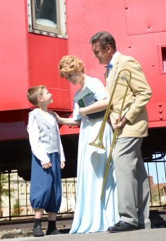 Theatre Bristol's The Music Man - Owen Griffith as Winthrop Paroo, Kylie Green as Marian Paroo, and Bob Cantler as Harold Hill