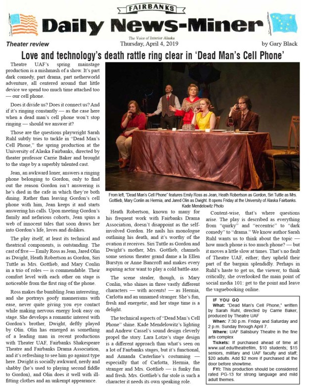 A review of our production by the Fairbanks Daily News-Miner. Click this for an easy-to-print PDF.