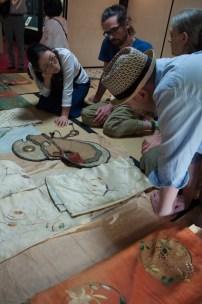 Examing the collection, Sasayama Noh Museum. L-R: Yayoi Shinoda, Monica Bethe, John Oglevee