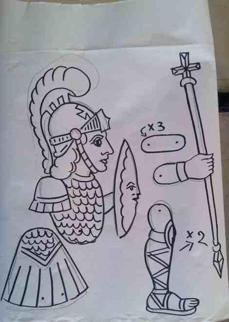 Ο Μέγας Αλέξανδρος. Σχέδιο του Νίκου Τζιβελέκη.