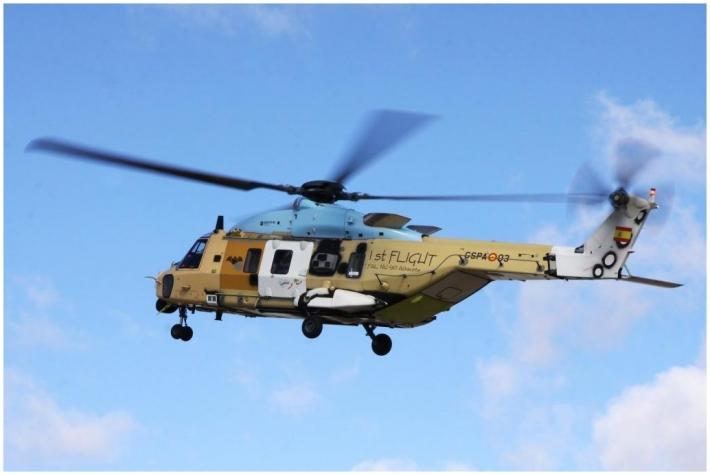 Premier vol du NH-90 espagnol le 23 janvier 2013 (Crédit photo : Pablo Rada / Eurocopter)