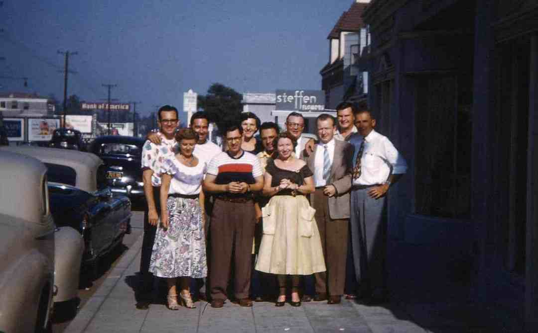 Most of the staff of the Bing Crosby Enterprises Electronic Division in the Spring of 1953 (Sunset Boulevard looking east). (back l-r) Chester Shaw, Ed Corey, Mary Jane Snavley, Unknown, Frank Healy and Wayne Johnson (front l-r) Frances Able, Gene Brown, Hoppie Healy, Bob Hopkin and Jack Mullin (BCE/RP)