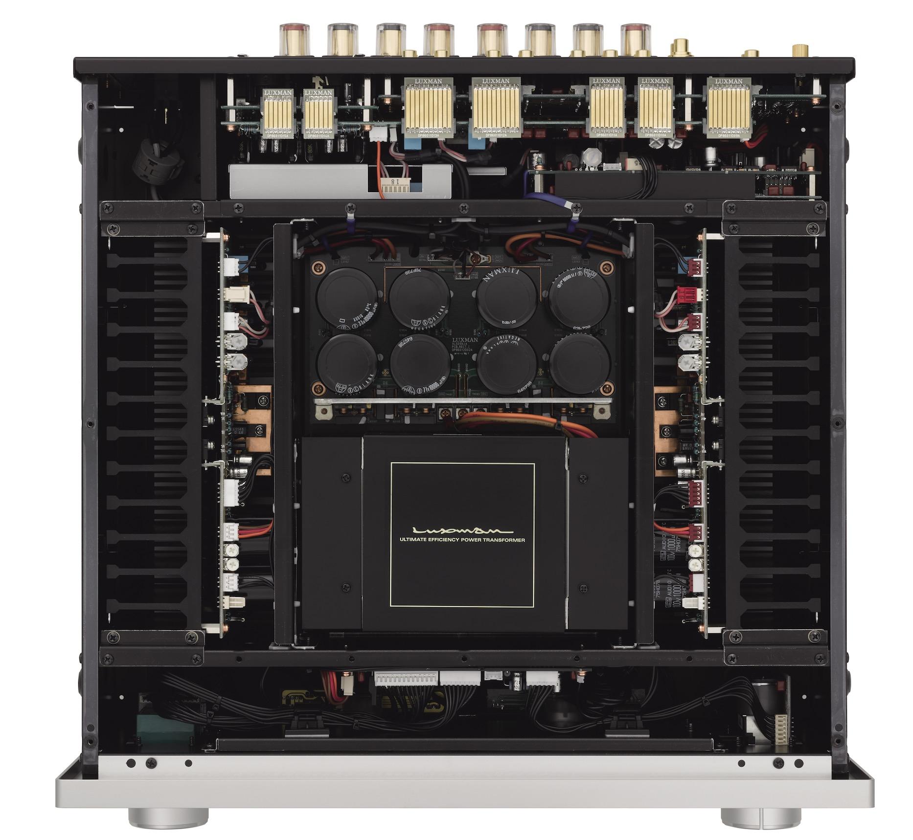 Luxman L-509X: amplificatore integrato di classe AB con manopole accese