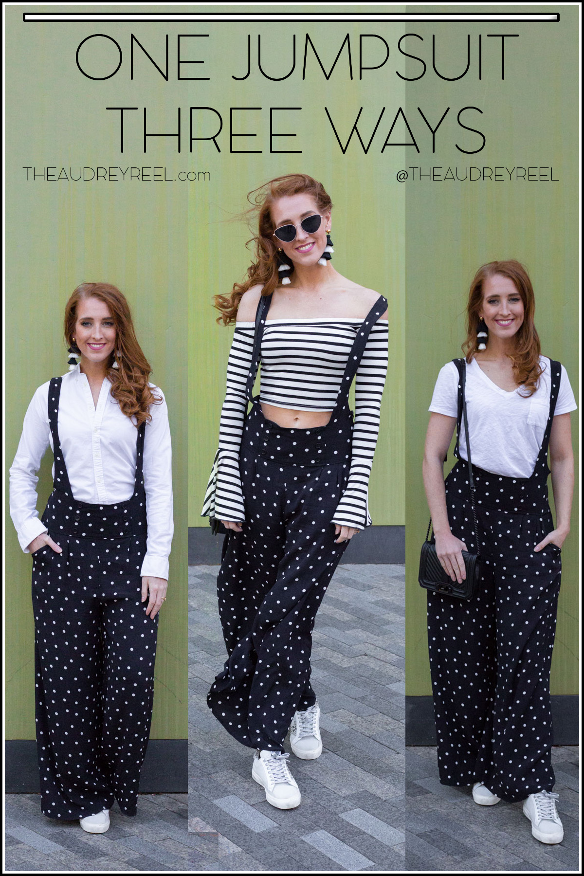 493035481008 These pants I am styling for 3 different scenarios is called the Black polka  dot Suspender Jumpsuit. Shop it HERE.