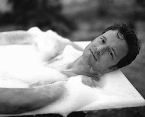Colin Firth in a bath tub because, why not?