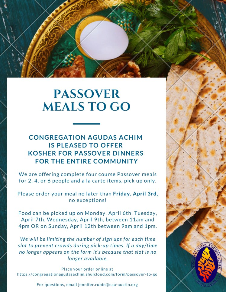 Passover Meals to go