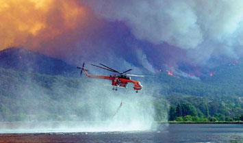 Sky crane operating during Victorian fires 2006