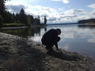 A peaceful moment with beach rocks and sand in Vaughn WA, Easterseals Camp Stand by Me Family Weekend.
