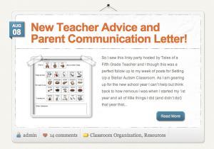 New Teacher Advice and Parent Communication Letter! - The Autism Helper
