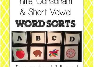 Initial Consonant & Short Vowel Word Sorts