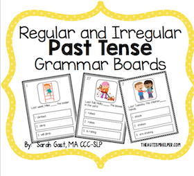 Regular and Irregular Past Tense Grammar Boards