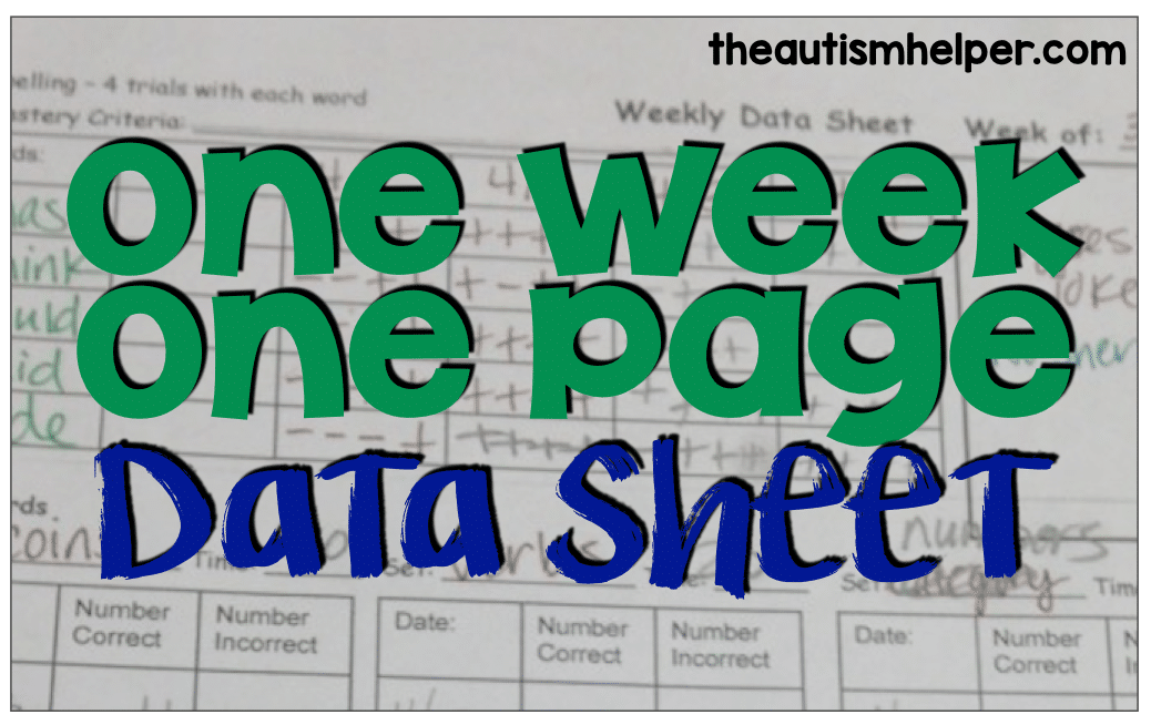One Week/One Page Data Sheet {free editable download included}