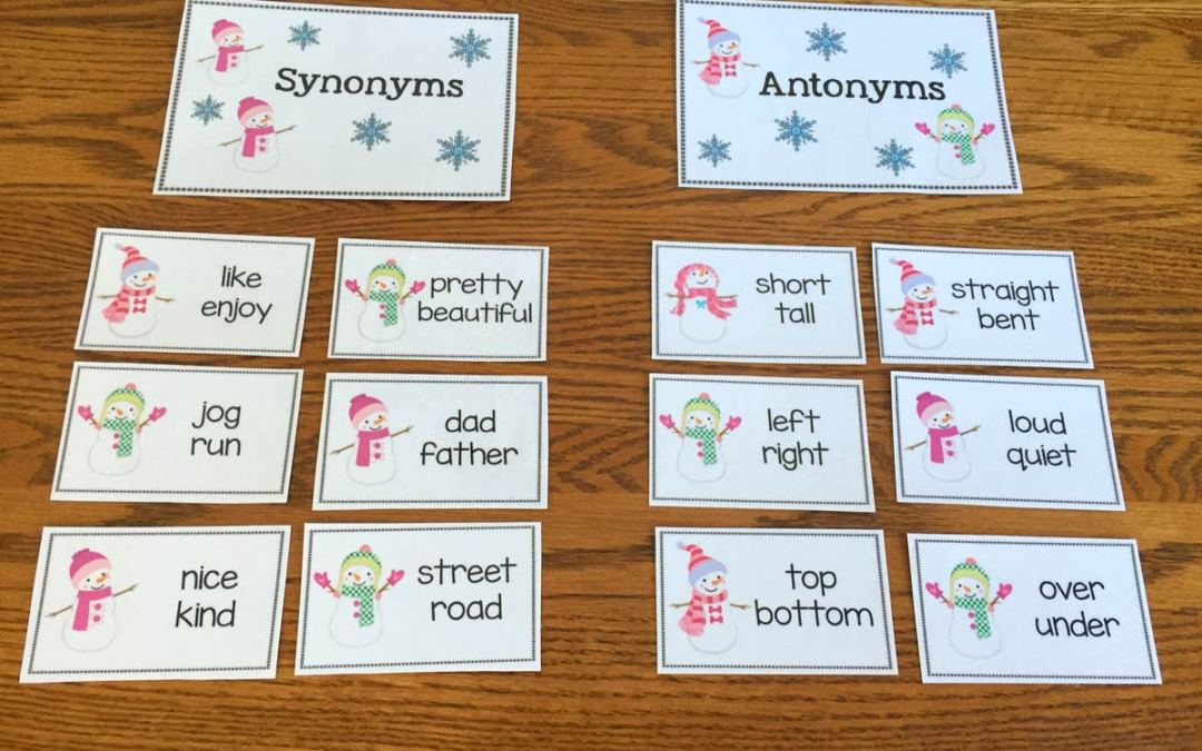 Free Snowman Synonyms and Antonym Sort! - The Autism Helper