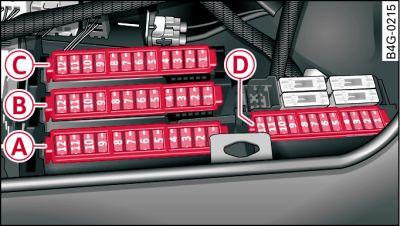 Предохранители в багажном отделении Ауди A6 C7