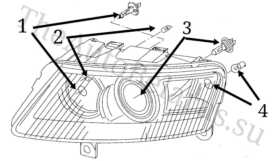 Лампы основной фары Audi A6 C6