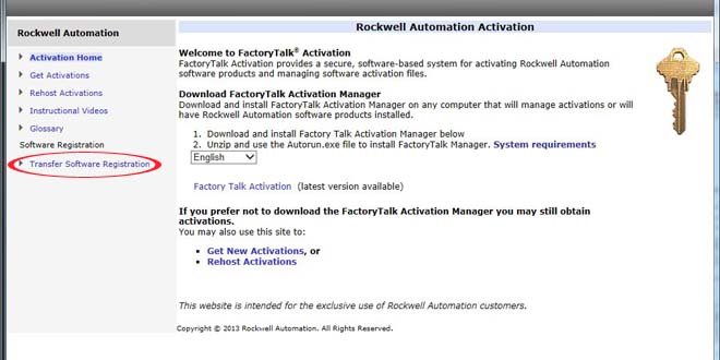 Old Rockwell Automation Transfer Registration Menu Item