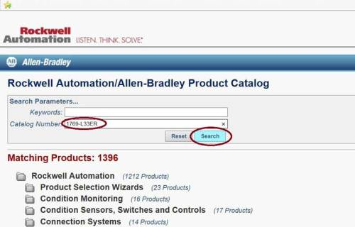 AB.com Product Catalog homepage search