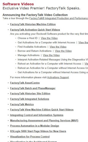 Rockwell FactoryTalk Activation Quick Start Video Listing