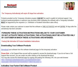 Rockwell Temporary Activation Email