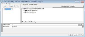 RSLinx Enterprise Communications Setup Window