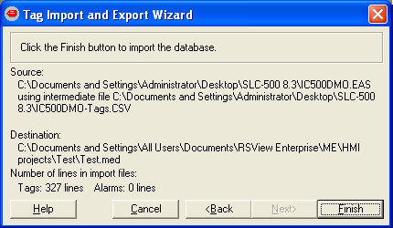 Tag Import and Export Wizard Step 6